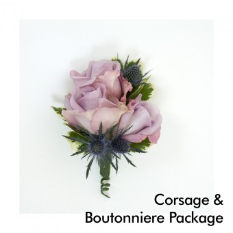 Lavender Wedding: Corsage & Boutonniere Package