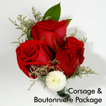 Red & White Wedding: Corsage & Boutonniere
