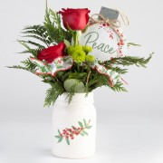 Holiday Rose Mason Jar Arrangement