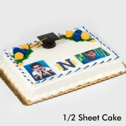 Graduation Floral Two Portraits & Mascot Cake